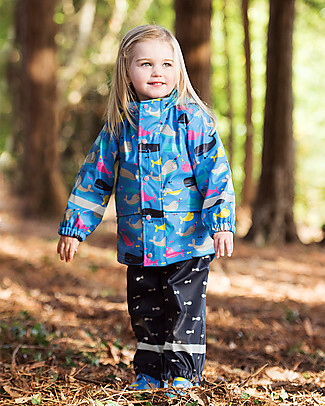 Frugi Puddle Buster Coat, Narwhal Natter - Welded Seams, 100% Waterproof! null