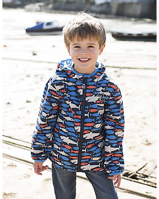 Frugi Puddle Buster Packaway Jacket, Shark About - 100% recycled! Jackets