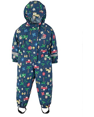 Frugi Puddle Buster Suit, Marine Blue Tractors - 100% recycled material! Jackets