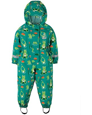 Frugi Puddle Buster Suit, Samson Green Frog Pond - 100% recycled material! Jackets