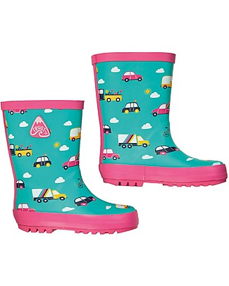 Frugi Puddle Buster Wellington Boots, Aqua Rainbow Roads - 100% natural rubber Wellies