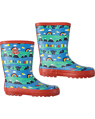 Frugi Puddle Buster Wellington Boots, Sail Blue Alpine Town - 100% natural rubber null