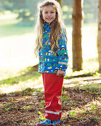 Frugi Puddle Buster Wellington Boots, Sail Blue Alpine Town - 100% natural rubber Shoes