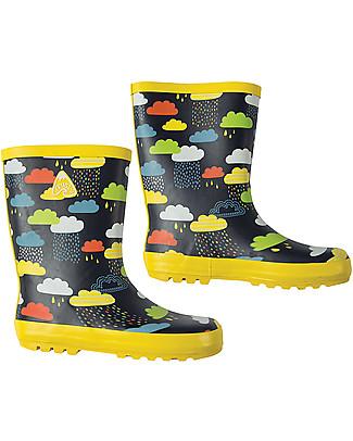 Frugi Puddle Buster Wellington Boots, Warm Scandi Skies - 100% natural rubber Umbrellas