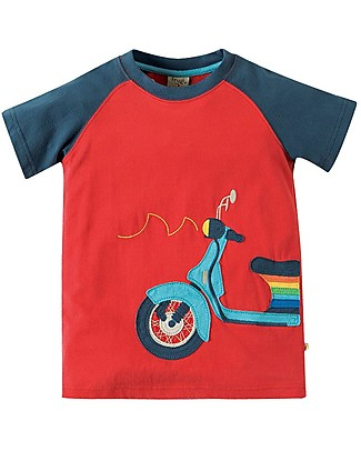 Frugi Rafe Raglan Top, Tomato/Scooter - 100% Organic Cotton T-Shirts And Vests