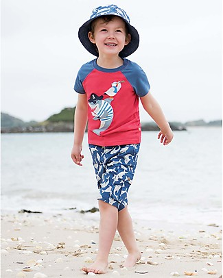 Frugi Rafe Raglan Top, Tomato/Shark - 100% Organic Cotton T-Shirts And Vests
