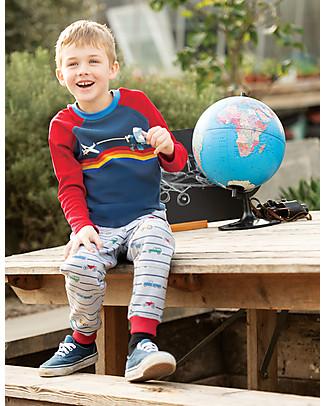 Frugi Rainbow Raglan Top, Blue/Plane - 100% Organic Cotton Long Sleeves Tops
