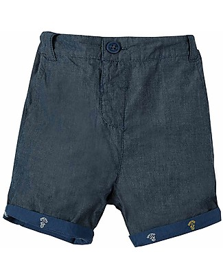 Frugi Ralph Reversible Shorts, Marine Blue Anchors (4+ years) - 100& Organic Cotton Shorts