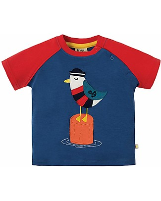 Frugi Renny Raglan T-shirt, Marine Blue/Seagull - 100% organic cotton T-Shirts And Vests