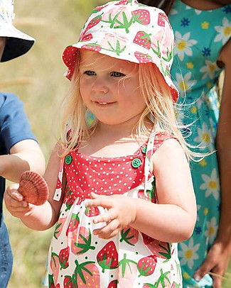 Frugi Reversible Ditsy Hat, Scilly Strawberries - 100% Organic Cotton Hats