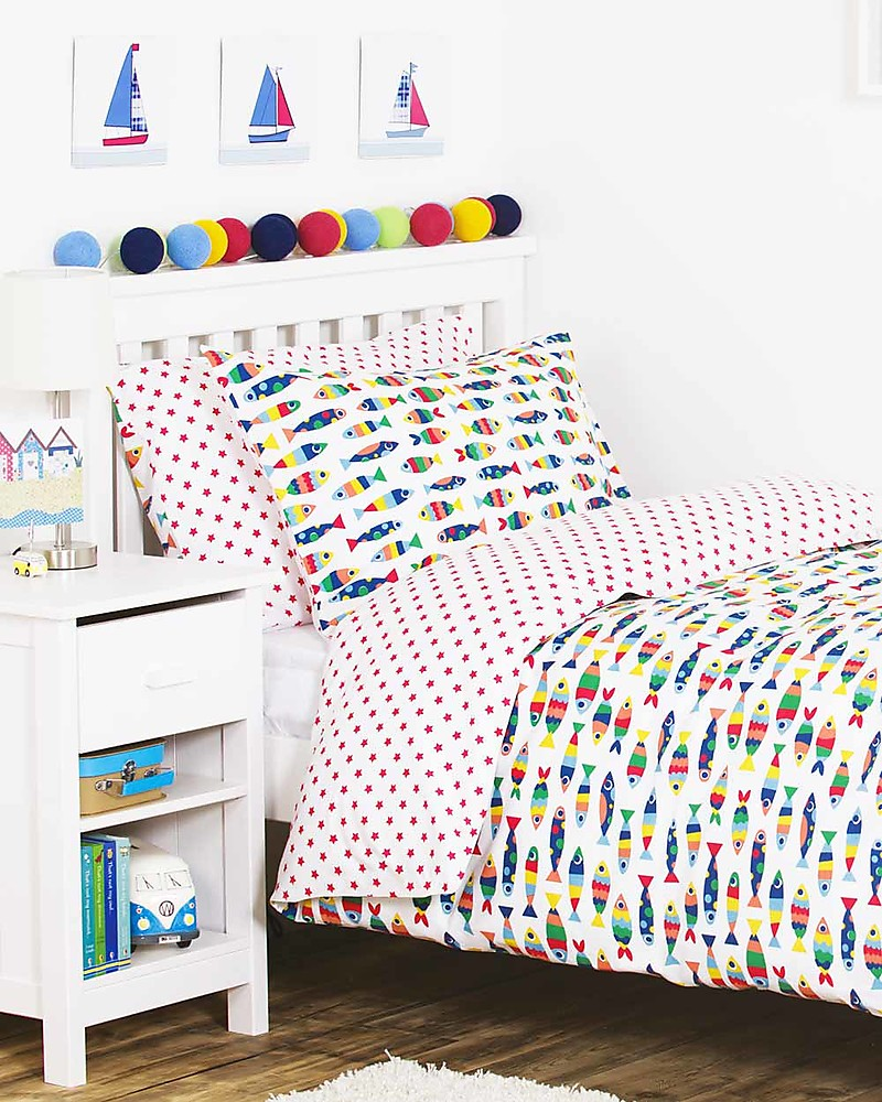 Copripiumino 135x200.Frugi Reversible Uk Single Bed Set Rainbow Fish 135x200 Cm
