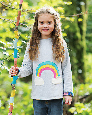 Frugi Rita Reversible Top, Bright Scandi Skies/Grey Marl - Organic cotton Long Sleeves Tops