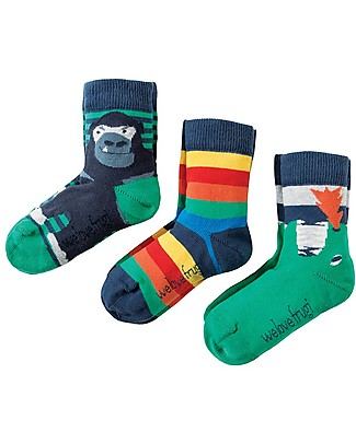 Frugi Rock My Socks 3 Pack, Dino Multipack - Elasticated cotton Socks