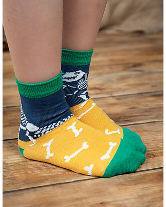 Frugi Rock My Socks 3 Pack, Dino Multipack - Elasticated Organic Cotton Socks