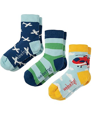 Frugi Rock My Socks 3 Pack, Planes Multipack - Elasticated Organic Cotton Socks