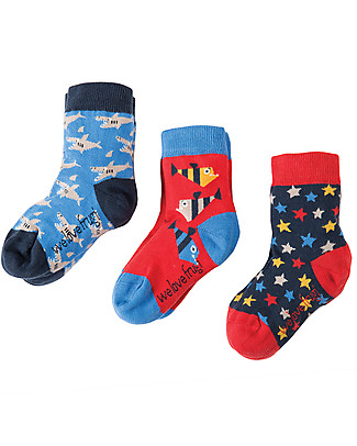 Frugi Rock My Socks 3 Pack, Sharks Multipack - Elasticated cotton Socks