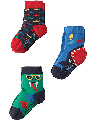 Frugi Rock My Socks 3 Pack, Snake Multipack - Elasticated cotton Socks