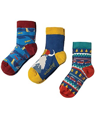 Frugi Rock My Socks 3 Pack, Walrus Multipack - Elasticated cotton Socks