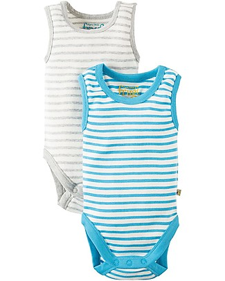 Frugi Sailor Vest Body, Pack of 2, Stripes - 100% Organic Cotton Short Sleeves Bodies