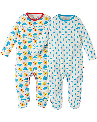 Frugi Scrumptious Babygrow, Duck Weather/Sky Drops - Pack of 2 - 100% Organic Cotton Babygrows