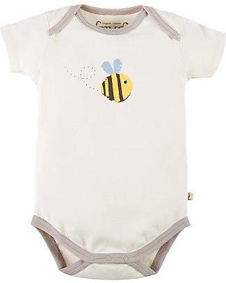 Frugi Short Sleeve Buzzy Bee Bodysuit, Natural/Buzzy Bee - 100% organic cotton Short Sleeves Bodies