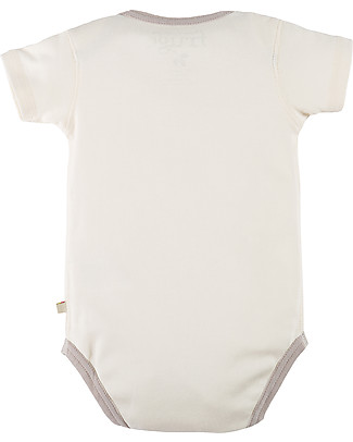 Frugi Short Sleeve Buzzy Bee Bodysuit, Natural/Buzzy Bee - 100% organic cotton Short Sleeves Bodies
