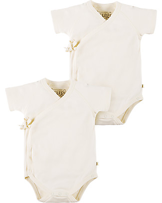 Frugi Short Sleeved Kimono Bodysuit, 2 pack - Natural White Short Sleeves Bodies