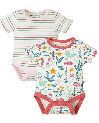 Frugi Short Sleeves Body Bailey, Pack of 2, Mermaid - 100% organic cotton Short Sleeves Bodies