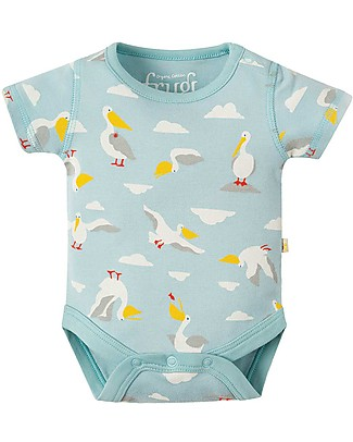 Frugi Short Sleeves Body Bailey, Pack of 2, Pelican Party - 100% organic cotton Short Sleeves Bodies