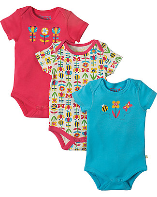Frugi Short Sleeves Bodysuits, Pack of 3, Bumble Bloom Bee - 100% organic cotton Short Sleeves Bodies