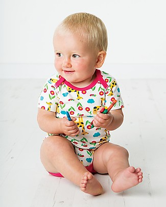 Frugi Short Sleeves Bodysuits, Pack of 3, Giraffe - 100% organic cotton Short Sleeves Bodies
