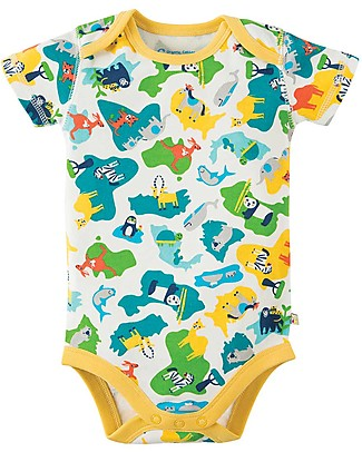 Frugi Short Sleeves Bodysuits, Pack of 3, Map - 100% organic cotton Short Sleeves Bodies