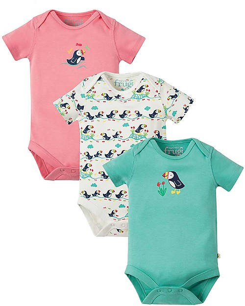 Frugi Short Sleeves Bodysuits, Pack of 3, Puffins - 100% organic cotton Short Sleeves Bodies