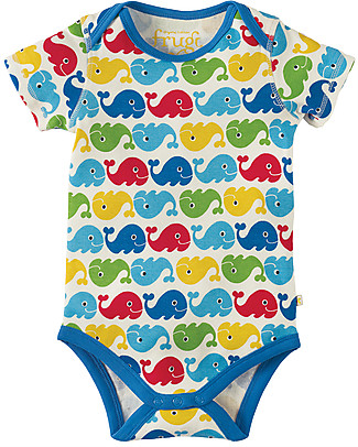 Frugi Short Sleeves Bodysuits, Pack of 3, Rainbow Whales - 100% organic cotton Short Sleeves Bodies