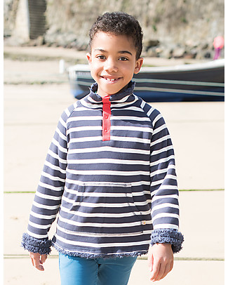 Frugi Snuggle Fleece, Navy Mid Breton - 100% organic cotton Sweatshirts