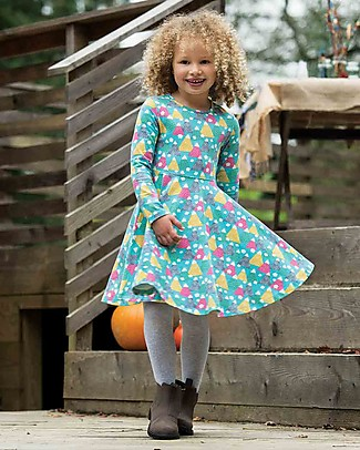 Frugi Sofia Skater Dress, Seaglass Happy Hikers - Elasticated organic cotton Dresses