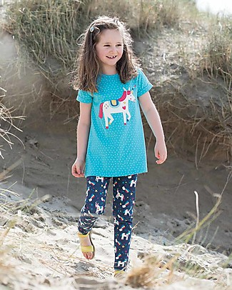 Frugi Sophie Applique Girl's Top, Turquoise Spot/Unicorn - 100% organic cotton Evening Tops
