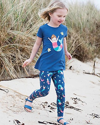 Frugi Sophie Applique Top, Marine Blue/Mermaid - 100% organic cotton Evening Tops