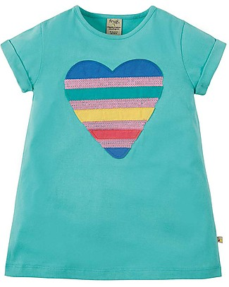 Frugi Sophie Sequin Applique Top, St Agnes/Sequin Heart - 100% organic cotton Evening Tops
