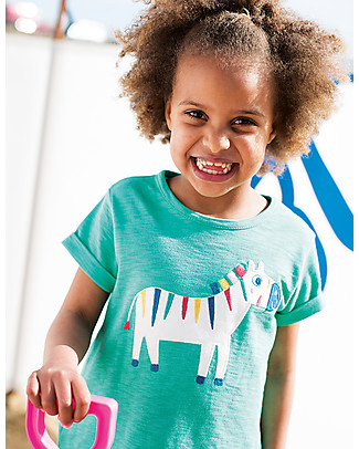Frugi Sophie Top, Jungle Green/Zebra - 100% organic cotton jersey T-Shirts And Vests
