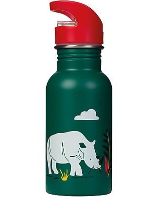 Frugi Splish Splash Steel Bottle, Rhino Ramble - 400ml BPA-Free Bottles