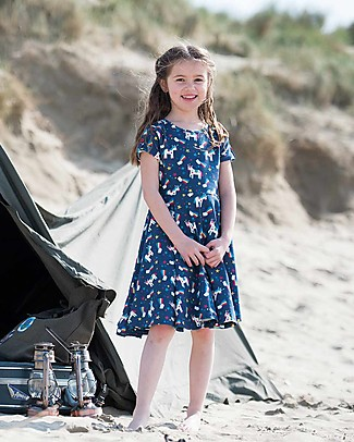 Frugi Spring Skater Dress, Magic Rainbow - Elasticated organic cotton Dresses