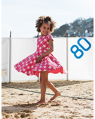 Frugi Spring Skater Dress, Raspberry Starfish - Elasticated organic cotton Dresses