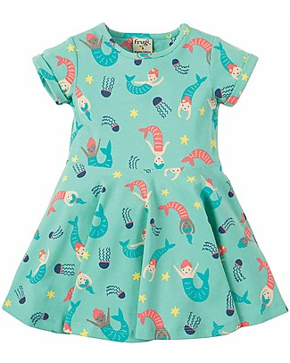 Frugi Spring Skater Dress, St Agnes Mermaid Magic - Elasticated organic cotton Dresses