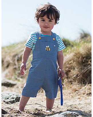 Frugi Springtime Short Sleeves Body, Blue Fine Stripe/Bee - 100% organic cotton Short Sleeves Bodies
