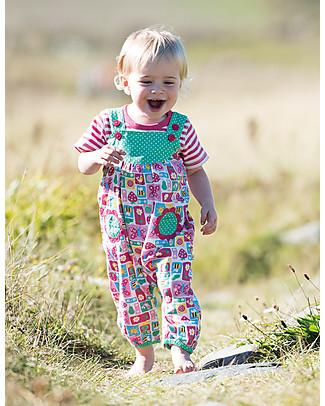 Frugi Springtime Short Sleeves Body, Raspberry Fine Stripe/Flowers - 100% organic cotton Short Sleeves Bodies