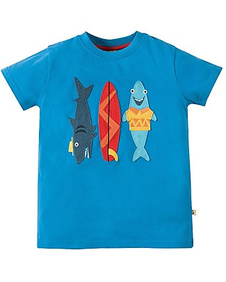 Frugi Stanley Applique T-shirt, Sail Blue/Sharks - 100% Organic Cotton T-Shirts And Vests