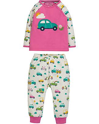 Frugi Stargaze Pyjamas, Flamingo/Car - Organic cotton Pyjamas
