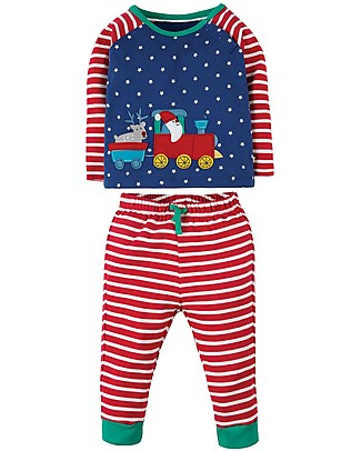 Frugi Stargaze Pyjamas, Twilight Sky/Train - 100% organic cotton Pyjamas