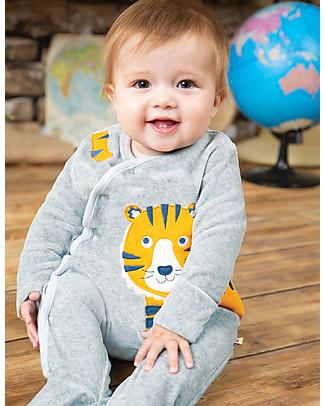 Frugi Stevie Swoop Babygrow, Grey Marl/Tiger - Organic Cotton Velour Babygrows